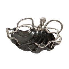 Black Shell Bowl with Silver Octopus