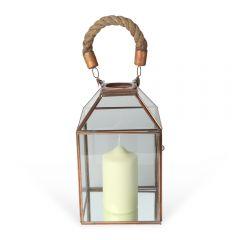 Medium Glasshouse Rope Handle Lantern - Copper