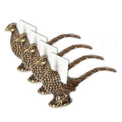 Pheasant Place Card Holder Set Of Four - Vintage Gold Finish