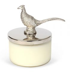 Wax Filled Glass Candle Holder & Pheasant Lid Snuffer
