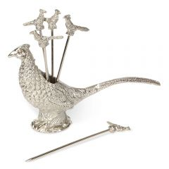 Set of 6 Cocktail Picks & Pheasant Holder