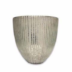 Medium Seville Fluted Candle Holder - Antique White Silver