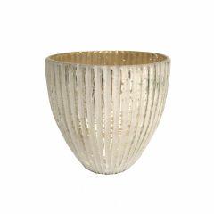 NEW! Small Seville Fluted Tea Light Holder - Antique White Silver