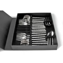 Round Hammered 24 Piece Cutlery Set