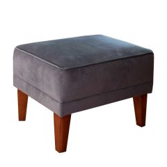 New! Dark Grey Romeo Footstool with Dark Brown Wood Feet
