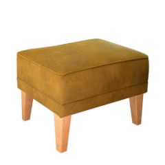 New! Mustard Green Romeo Footstool with Natural Beechwood Feet