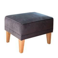 New! Dark Grey Romeo Footstool with Natural Beechwood Feet