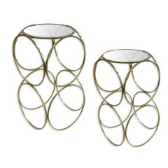 NEW! Set Of Two Galileo Side Tables - Gold Finish