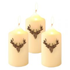 Set of Three Small Stag Antler Candle Pins - Vintage Gold Finish
