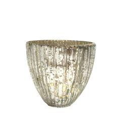 NEW! Small Seville Fluted Tea Light Holder - Antique Silver