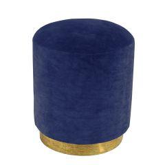 Velvet Navy Blue Small Stool