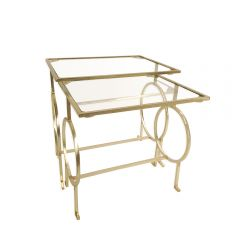 NEW! Nest Of Two Galileo Glass Top Side Tables - Gold Finish