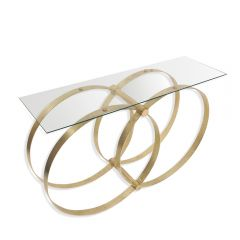 NEW! Union Glass Console Table - Gold Finish