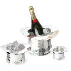Perfect Top Hat Wine Cooler, Ice Bucket U0026 Nibbles Bowl Set