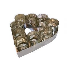 Small Heart Votive Tray With Glass Holders