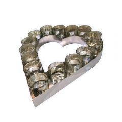 Large Heart Votive Tray With Glass Holders