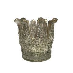 Large Antique Silver Crown Tea Light Holder