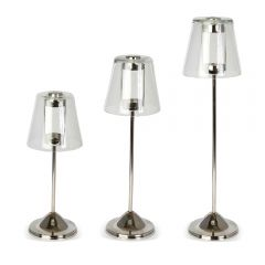 Large, Medium & Small Tea Light Lamp Set - Nickel Finish