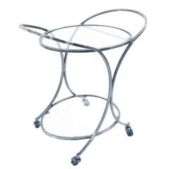 NEW! Dorchester Oval Drinks Trolley - Polished Nickel