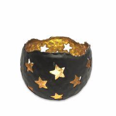 NEW! Medium Starry Tea Light Holder - Black Gold
