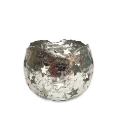Large Silver Starry Tea Light Holder