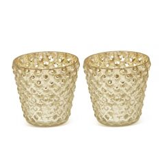 Pair of Small Bubble Votives - Gold