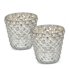 Pair of Large Bubble Votives - Silver - Pre-order - Due Late July
