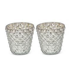 Pair of Small Bubble Votives - Silver - Pre-order - Due Late July