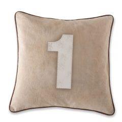 Leather Edged Number Cushion On Vintage Canvas - Contrast White Number 1- Production Second