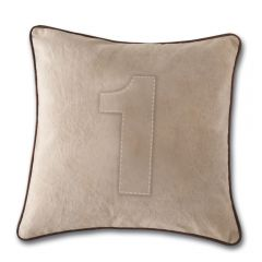 Leather Edged Number Cushion On Vintage Canvas - Tonal Number 1