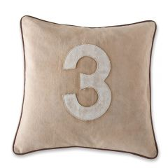 Leather Edged Number Cushion On Vintage Canvas - Contrast White Number 3 - Production Second