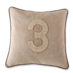 Leather Edged Number Cushion On Vintage Canvas - Tonal Number 3
