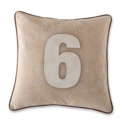 Leather Edged Number Cushion On Vintage Canvas - Contrast White Number 6  - Production Second