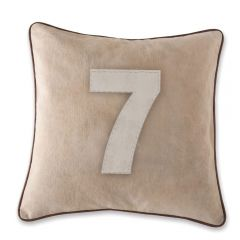 Leather Edged Number Cushion On Vintage Canvas - Contrast White Number 7 - Production Second