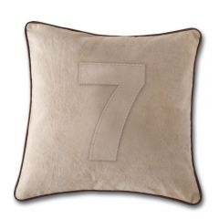 Leather Edged Number Cushion On Vintage Canvas - Tonal Number 7