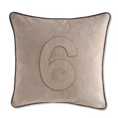 Leather Edged Number Cushion On Vintage Canvas - Tonal Number 6 - Production Second