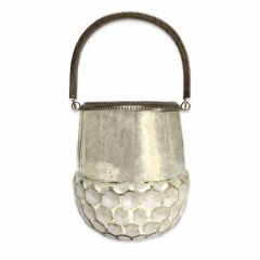 Small Hive Base Candle Lantern - Antique White Silver