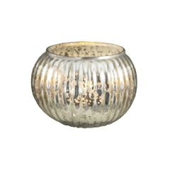 Extra Large Glass Mercury Globe Tea Light Holder - Silver