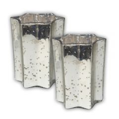 Pair of Large Star Votives - Silver