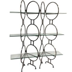 Jupiter Glass Shelving Unit - Antique Silver Finish