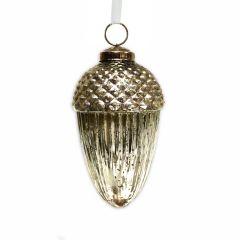 Large Antique Silver Acorn Bauble