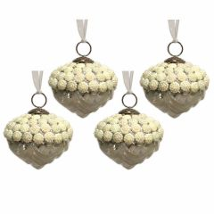 NEW! Set of 4 Antique White Pearl Bead Glass Artichoke Baubles