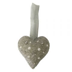 Silver Grey Beaded Hanging Heart
