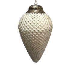 NEW! Medium Fir Cone Bauble - Antique White Silver