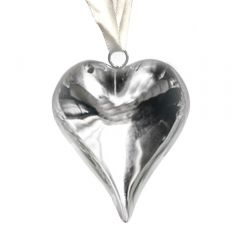 Medium Silver Heart Hanging Decoration