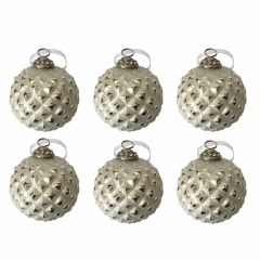Set of Six Antique White & Silver Large Frosted Glass Baubles