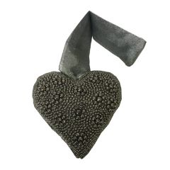 Small Dark Grey Hanging Beaded Heart