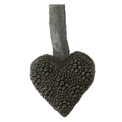 Large Dark Grey Hanging Beaded Heart