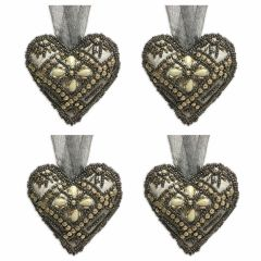 Set of Four Small Smoke Cupid Gold Beaded Heart Decorations