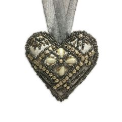 Small Smoke Cupid Gold Beaded Heart